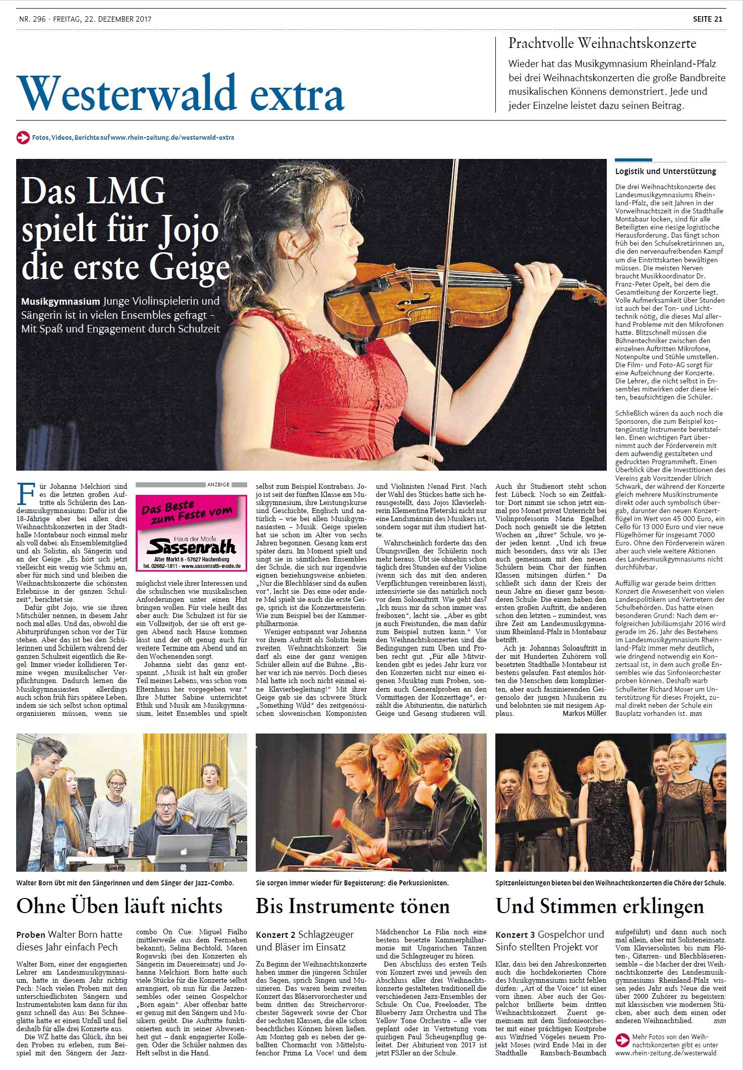 Prachtvolle Weihnachtskonzertelandesmusikgymnasium Rheinland Pfalz